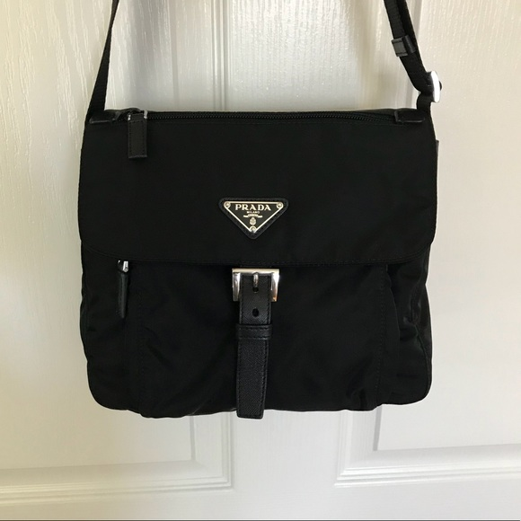 96b4c1efa66539 Prada Bags | Vela Nero Nylon And Leather Crossbody Bag | Poshmark